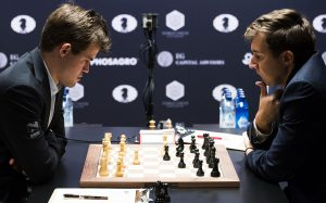 Лента новостей Карякин и Карлсен сыграли вничью в пятой партии матча за шахматную корону