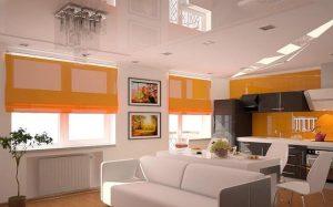 Особенности выбора натяжного потолка в квартиру-студию